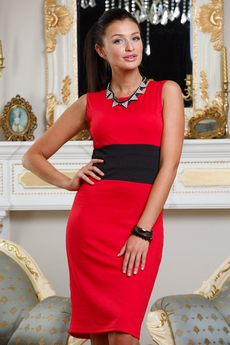 ХИТ продаж: красное платье футляр без рукавов с черным поясом Angela Ricci