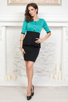 ХИТ продаж: зеленое платье с баской Angela Ricci