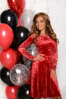 Красное бархатное платье с длинными рукавами Open-Style