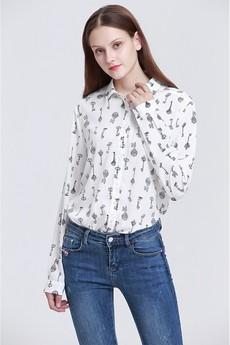 Белая рубашка с принтом Ключи Marimay