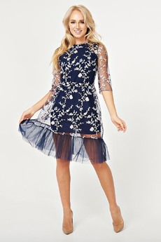 Платье с вышивкой на сетке Paola Rossi