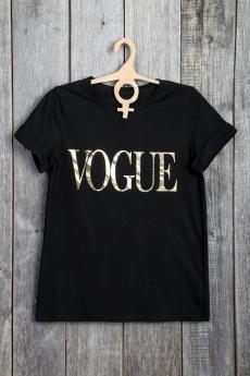 Черная футболка VOGUE Милана со скидкой